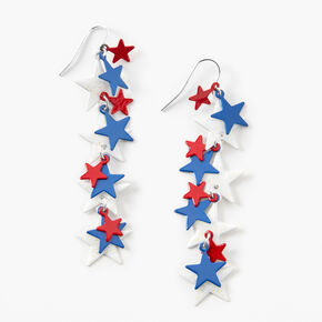 Red, White, And Blue Multi-Star Drop Earrings,