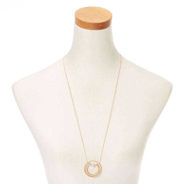 Gold Orbit Horseshoe Long Pendant Necklace,