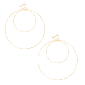 Gold Double Hoop Clip-on Earrings,