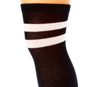 White Striped Over the Knee Socks - Black,