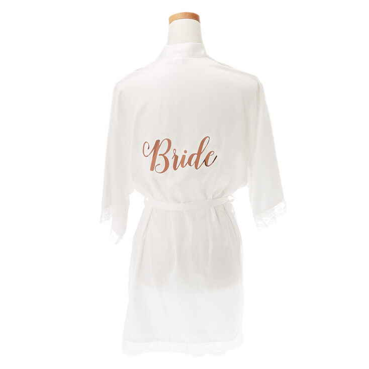 White & Rose Gold Foil Satin Bride Robe - L/XL,