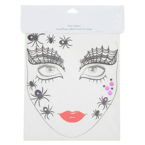 Spider Glitter Face Stickers - Black,