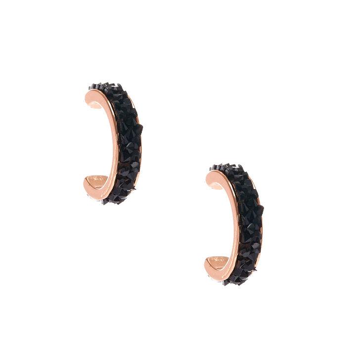 Gold Tone & Black Pave Mini Half Hoop Earrings,