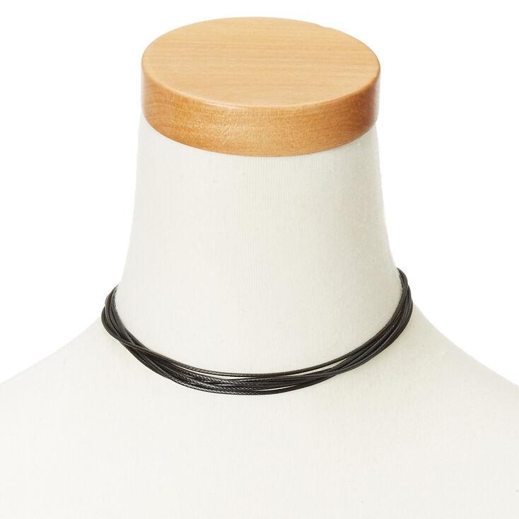 Multi String Black Choker Necklace,