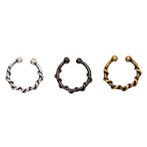 Mixed Metal Wired Faux Hoop Nose Rings - 3 Pack,