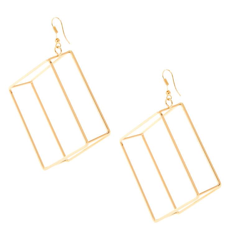 Gold-Tone Open Cube Drop Earrings,