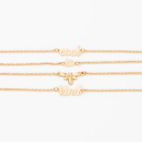 Gold Cool To Bee Kind Chain Bracelets - 2 Pack,