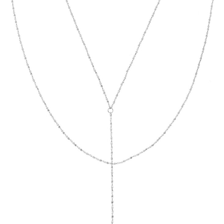 SIlver Tone Textured Y Chain Necklace,