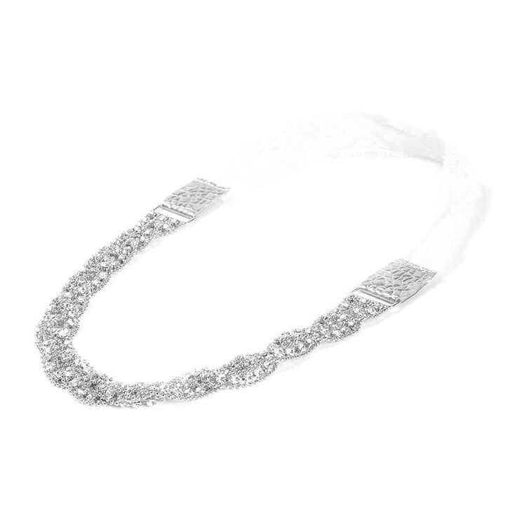 Braided Beaded Silver & Rhinestone Chain Headwrap,