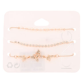 Rose Gold Rhinestone Butterfly Adjustable Bracelets - 3 Pack,