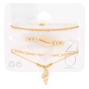 Gold Puka Shell Bracelets - 5 Pack,