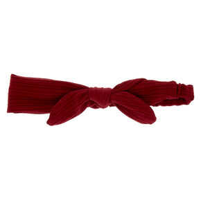 Ribbed Knot Bow Headwrap - Burgundy,