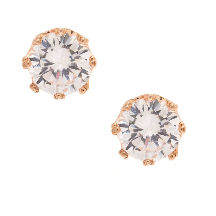 Rose Gold Cubic Zirconia Round Crown Stud Earrings - 8MM,