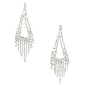 "Silver Rhinestone 3"" Rectangle Chandelier Drop Earrings,"