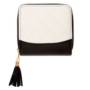 Black & White Quilted Mini Zip Wallet,