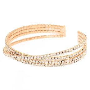 Gold Rhinestone Criss Cross Cuff Bracelet