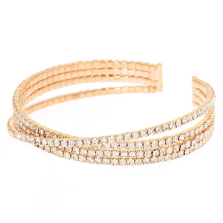 Gold Rhinestone Criss Cross Cuff Bracelet,