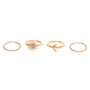 Gold Celestial Midi Rings - 4 Pack,
