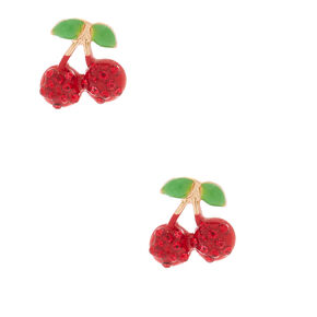 Gold Crystal Cherry Stud Earrings - Red,