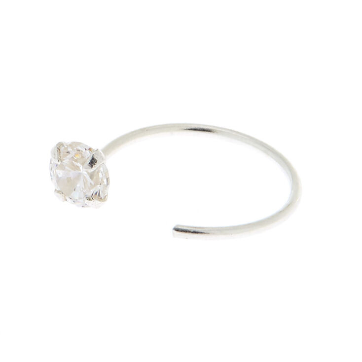 Sterling Silver Cubic Zirconia 22G Open Stone Nose Ring,