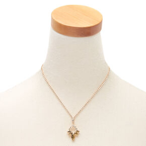 Gold Rhinestone Leaf Pendant Necklace,
