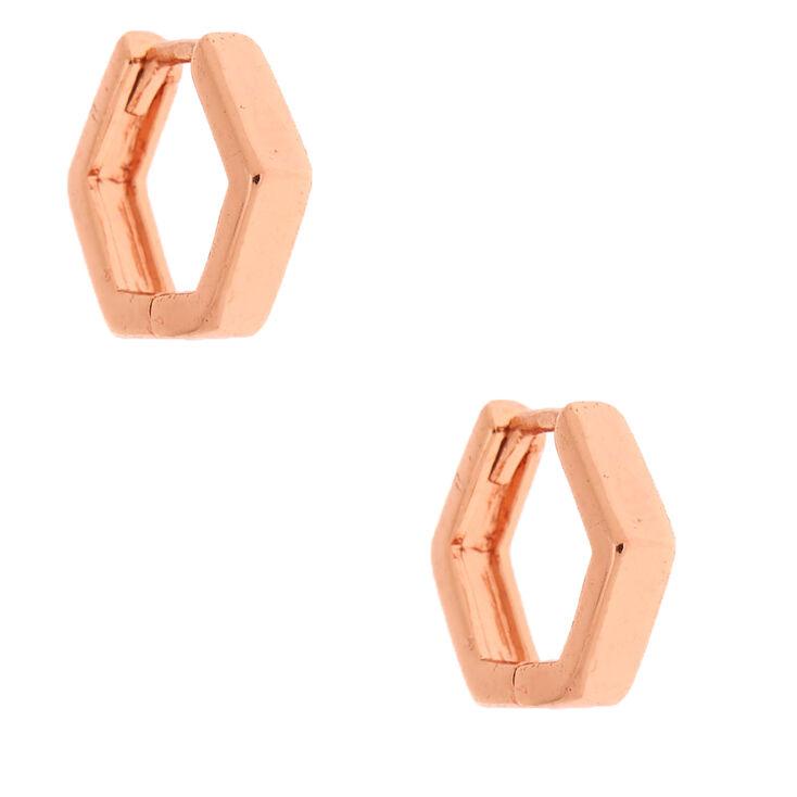 18kt Rose Gold Plated 10MM Geometric Huggie Hoop Earrings,