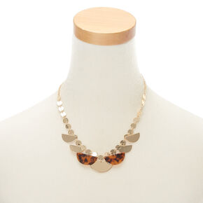 Gold Resin Tortoiseshell Statement Necklace - Brown,