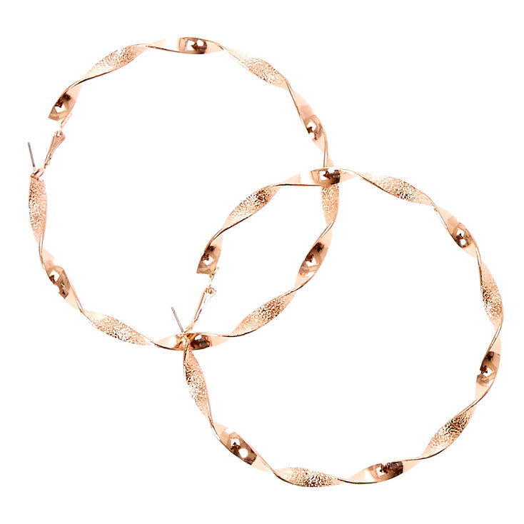 Rose Gold Tone Twisted Hammered Hoop Earrings.,