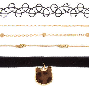 Gold Leopard Cat Choker Necklaces - 4 Pack,