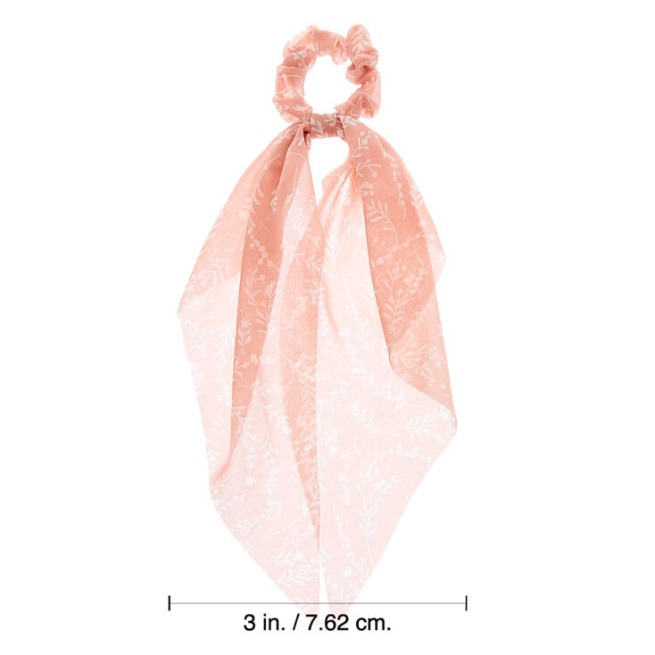 Small Floral Tree Branch Scarf Hair Scrunchie - Blush Pink,