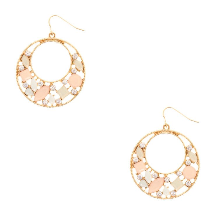 Pastel Stone & Scalloped Gold Disc Drop Earrings,