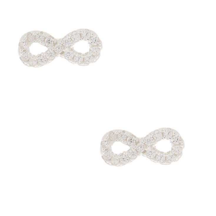 Sterling Silver Cubic Zirconia Infinity Stud Earrings,
