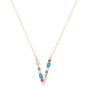 Embellished Long Initial Pendant Necklace - V,