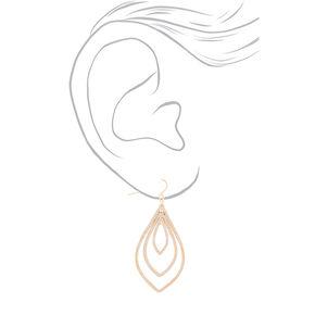 """Gold 2"""" Triple Teardrop Drop Earrings,"""