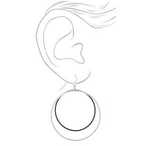 "Silver 2"" Double Loop Drop Earrings - Black,"