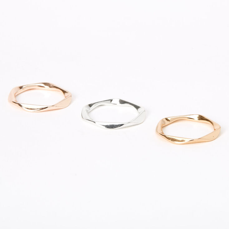 Mixed Metal Twisted Rings - 3 Pack,