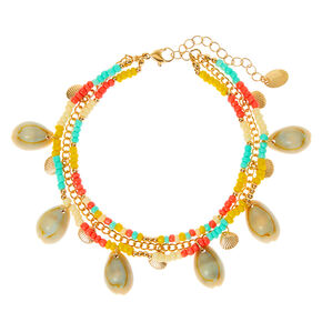 Gold Tropical Beaded Cowrie Shell Multi Strand Anklet,