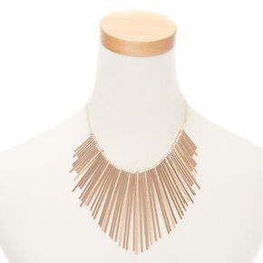 Rose Gold Glitter Bar Bib Statement Necklace,
