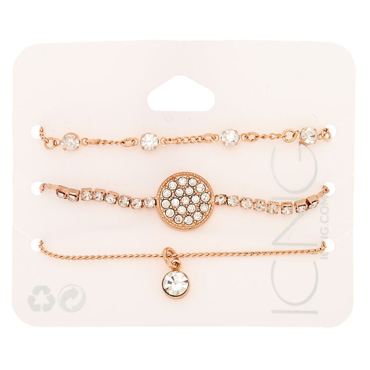 Rose Gold Rhinestone Adjustable Bracelets - 3 Pack,
