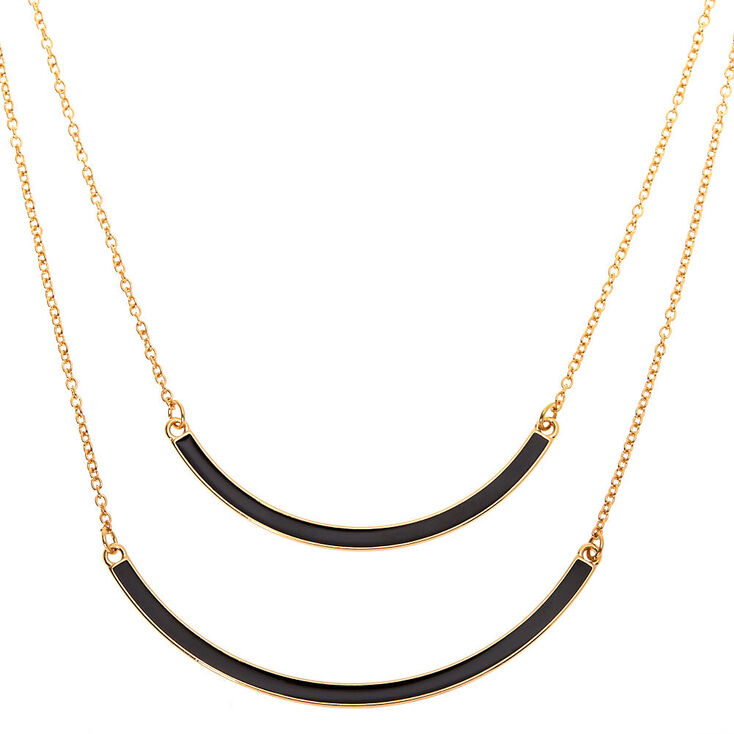Gold Enamel Double Bar Multi Strand Necklace - Black,