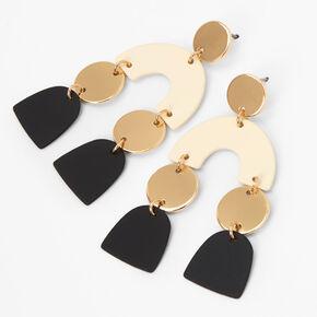 """Gold 2"""" Neutral Geometric Drop Earrings,"""