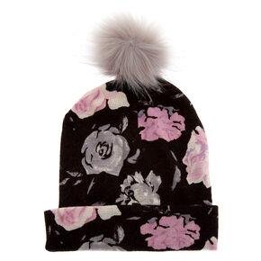 Floral Pom Beanie - Black,