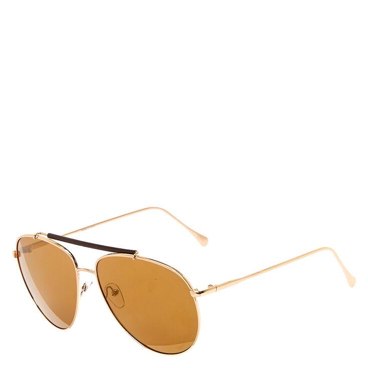 Gold Brow Bar Aviator Sunglasses,