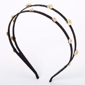 Gold Embellished Double Row Headband - Black,