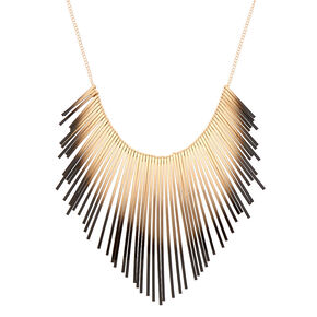 Gold Ombre Bar Statement Necklace - Black,