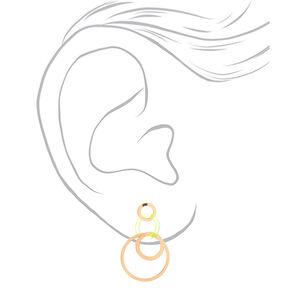 "Gold 2"" Circle Drop Earrings - Neon Green,"