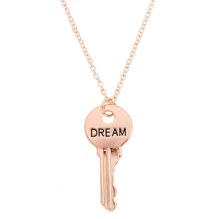 Gold-Tone DREAM Key Pendant Necklace,
