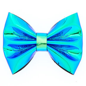 Holographic Mini Hair Bow Clip - Tuquoise,