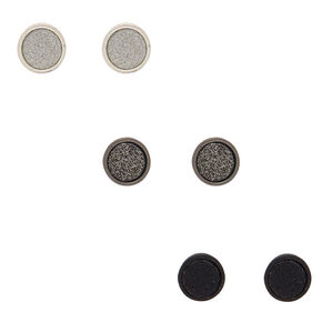 Mixed Metal Stud Earrings - Black, 3 Pack,