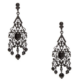 Jet Black Vintage Filigree Beaded Drop Earrings,